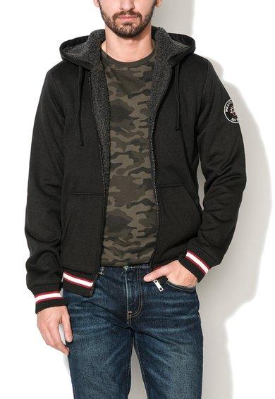 FashionDays.ro: Hanorac negru cu captuseala din teddy Joe BRAVE SOUL
