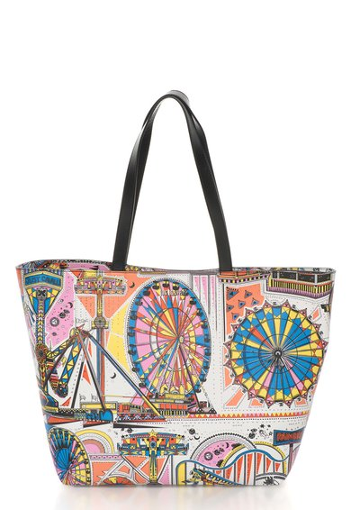 Geanta tote multicolora cu imprimeu tematic de la Just Cavalli