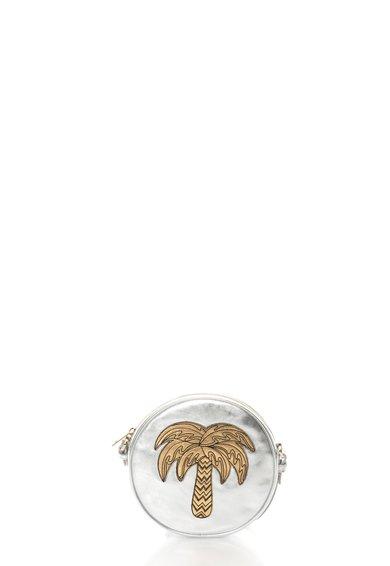 Geanta mica rotunda crossbody argintiu cu auriu de piele de la Just Cavalli