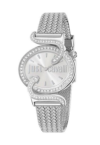 Just Cavalli Ceas argintiu decorat cu cristale Sin