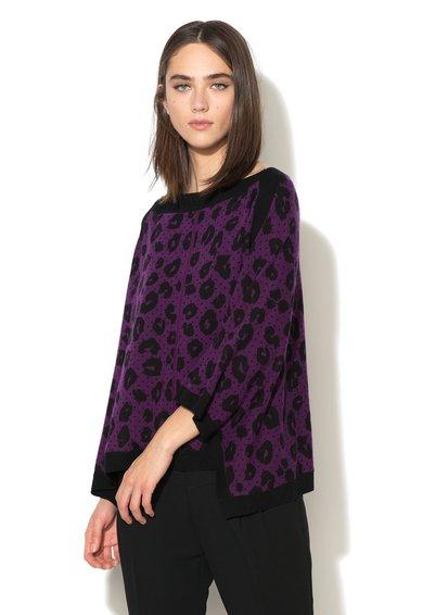Juicy Couture Pulover violet cu negru din amestec de lana si casmir