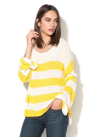 Juicy Couture Pulover supradimensionat alb cu galben in dungi