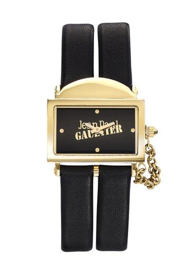 Jean Paul Gaultier Ceas negru si auriu cu o curea dubla 325