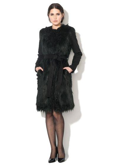 NISSA Palton negru de blana sintetica cu un cordon