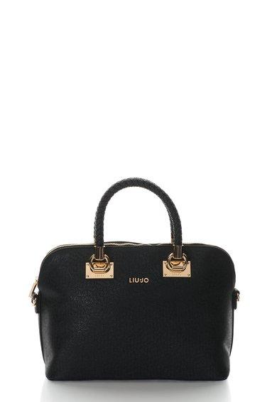FashionDays.ro: Geanta neagra cu textura Saffiano si detalii aurii Liu Jo