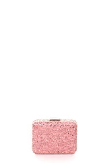Geanta plic minaudière in nuante de roz cu strasuri de la Liu Jo