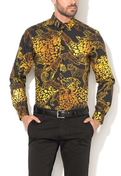 VERSACE JEANS Camasa slim fit negru si galben cu imprimeu leopard