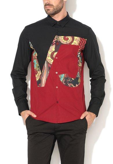 FashionDays.ro: Camasa regular fit negru si rosu inchis cu imprimeu VERSACE JEANS