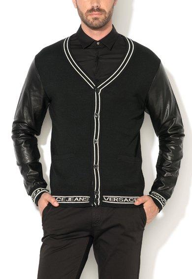 FashionDays.ro: Cardigan regular fit negru cu maneci de piele sintetica VERSACE JEANS