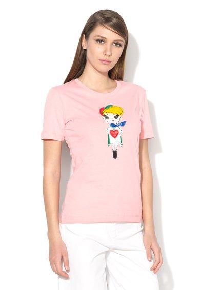 Tricou roz deschis cu aplicatie multicolora de la Love Moschino