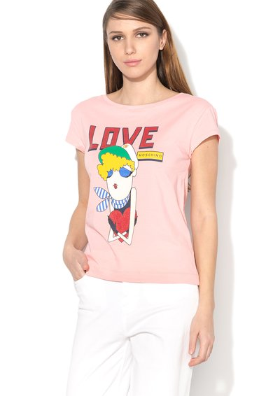 FashionDays.ro: Tricou roz cu imprimeu Love Moschino
