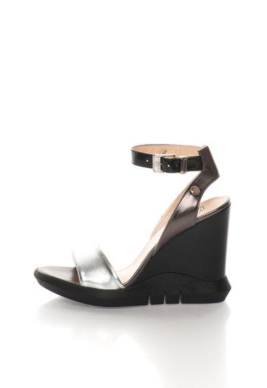 FashionDays.ro: Sandale wedge argintiu cu gri hematit Love Moschino