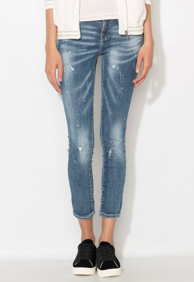 Zee Lane Denim Jeansi crop albastri cu pete decorative Femei image_1