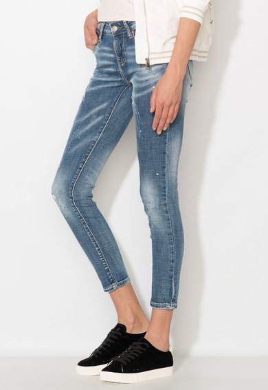 Zee Lane Denim Jeansi crop albastri cu pete decorative Femei image_3