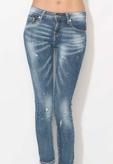 Zee Lane Denim Jeansi crop albastri cu pete decorative Femei image_4