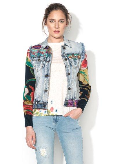 Jacheta multicolora din denim cu maneci de jerseu Ethnic