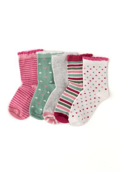 Set de sosete roz si verde cu modele diverse - 5 perechi
