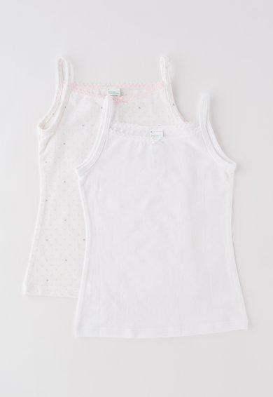 Set de topuri alb cu roz cu desene – 2 piese de la Undercolors of Benetton