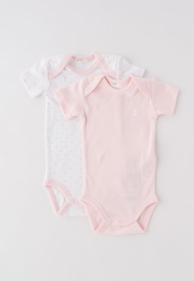 Set de body-uri roz cu alb – 2 piese de la Undercolors of Benetton