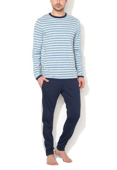 Pijama bleumarin cu gri melange in dungi de la Undercolors of Benetton