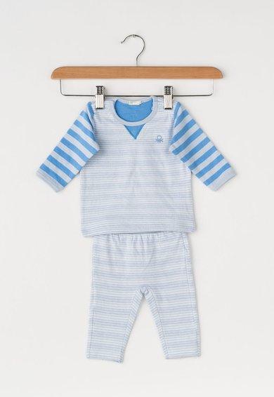 Set de bluza si pantaloni albastru in dungi
