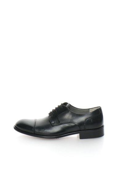 Pantofi negri de piele cu aplicatie cap-toe Derby de la Zee Lane Collection