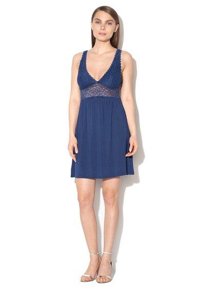 Camasa de noapte bleumarin cu insertie de dantela Amourette de la Triumph