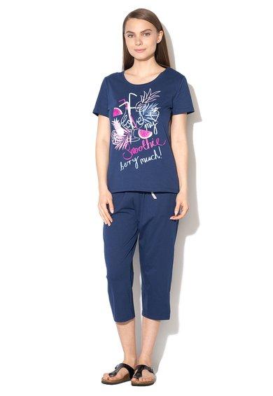 Pijama bleumarin cu imprimeu multicolor