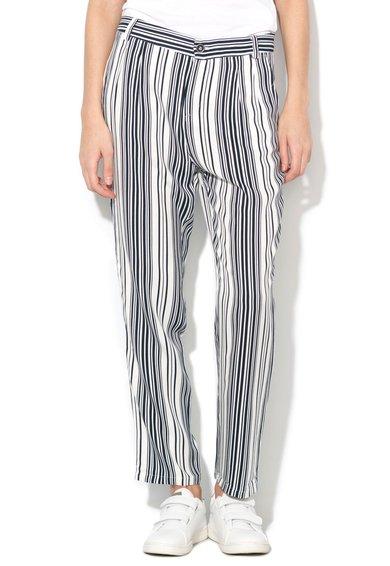 FashionDays.ro: Pantaloni alb prafuit cu bleumarin in dungi United Colors Of Benetton