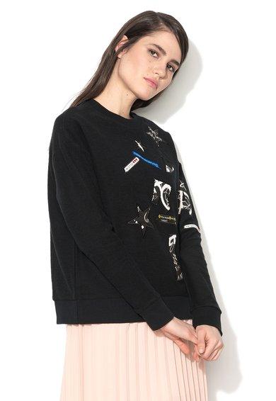 Sisley Bluza sport neagra cu aplicatii frontale