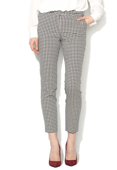 Sisley Pantaloni chino negru cu alb cu model gingham