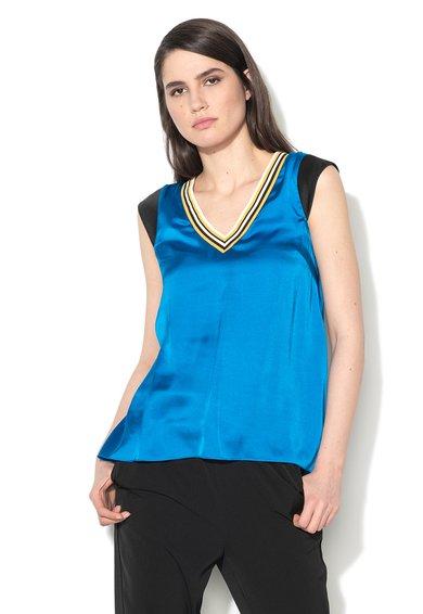 Sisley Bluza albastra matasoasa cu garnituri elastice in dungi