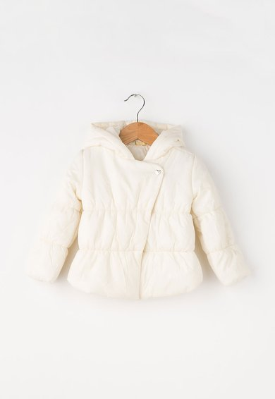 Jacheta alb unt cu vatelina si gluga