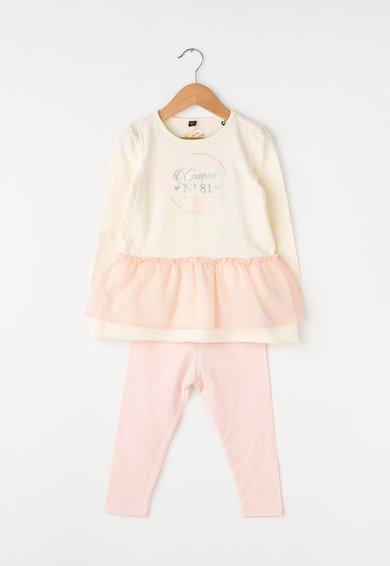 Set de bluza si pantaloni bej cu roz deschis