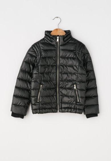 Jacheta neagra din piele sintetica cu vatelina de la GUESS JEANS