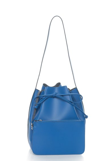 Geanta bucket albastra de piele cu portofel detasabil Anny de la Zee Lane Collection