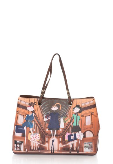 Love Moschino Geanta shopper multicolora cu imprimeu