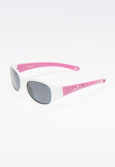 Polaroid Ochelari de soare alb cu roz si lentile polarizate