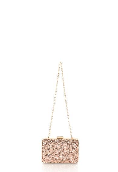 Geanta plic minaudière auriu rose cu paiete COCCINELLE