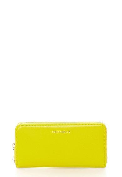 FashionDays.ro: Portofel verde chartreuse de piele saffiano cu logo COCCINELLE
