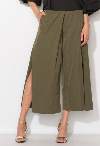Zee Lane Denim Pantaloni cullote verde oliv cu slituri laterale