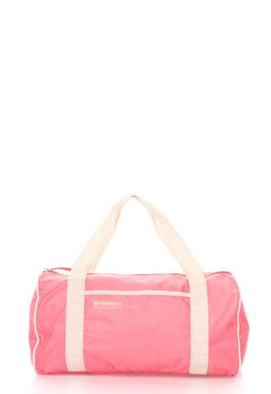 Geanta duffle roz aprins cu bej deschis si lurex