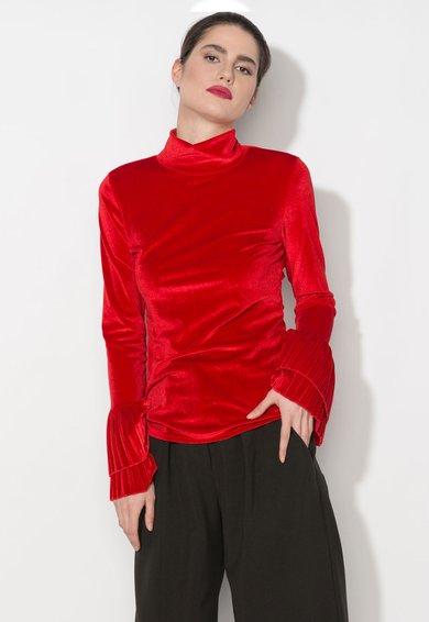 Zee Lane Denim Bluza rosie catifelata cu mansete plisate si guler inalt