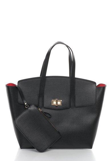 Geanta tote neagra de piele saffiano Zee Lane Collection