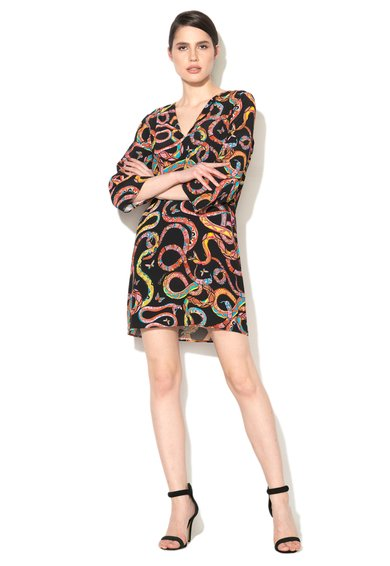 Rochie neagra cu imprimeu multicolor cu serpi