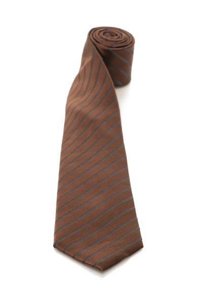 FashionDays.ro: Cravata de matase maro inchis cu gri in dungi Vincenzo Boretti