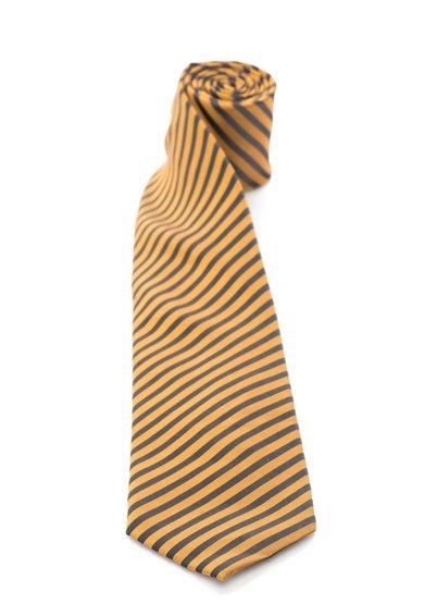 FashionDays.ro: Cravata de matase ocru cu gri inchis in dungi Vincenzo Boretti