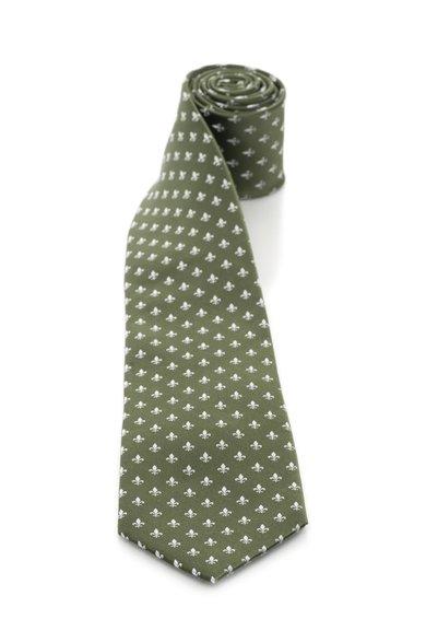 FashionDays.ro: Cravata verde oliv cu alb din matase cu model fleur de lis Vincenzo Boretti