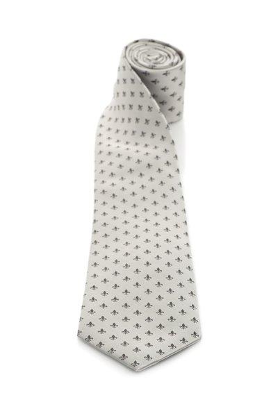 Cravata argintie de matase cu model fleur de lis gri inchis Vincenzo Boretti