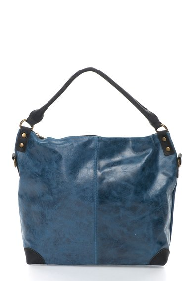 FashionDays.ro: Geanta tote de piele in 2 nuante de bleumarin cu negru Oakoui